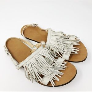 J. Crew Leather Fringe Slingback Sandals